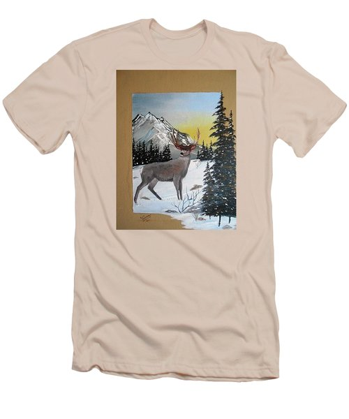 Men's T-Shirt (Slim Fit) featuring the painting Deer Hunter's Dream by Al  Johannessen
