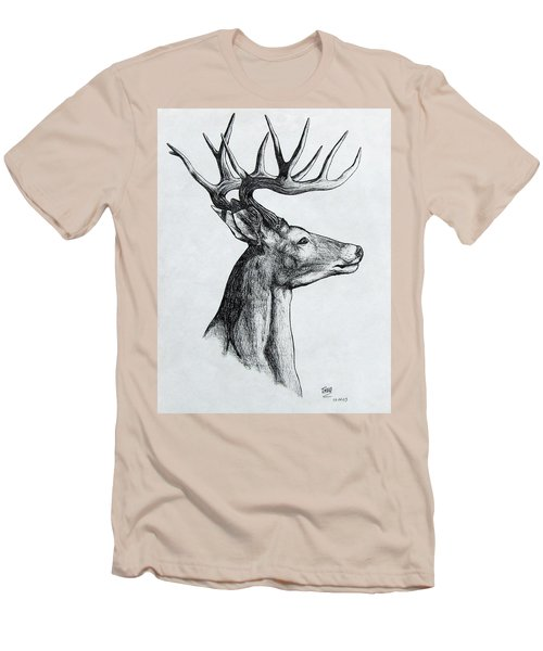 Men's T-Shirt (Slim Fit) featuring the drawing Deer by Michael  TMAD Finney