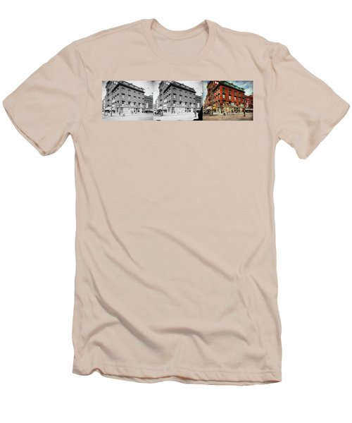 Men's T-Shirt (Athletic Fit) featuring the photograph Dentist - Peerless Painless Dental Parlors 1910 - Side By Side by Mike Savad