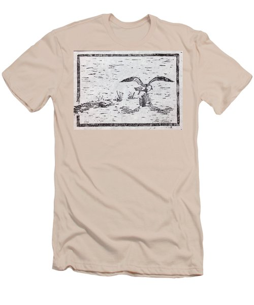 Departure Woodcut  Men's T-Shirt (Slim Fit) by Stan Tenney