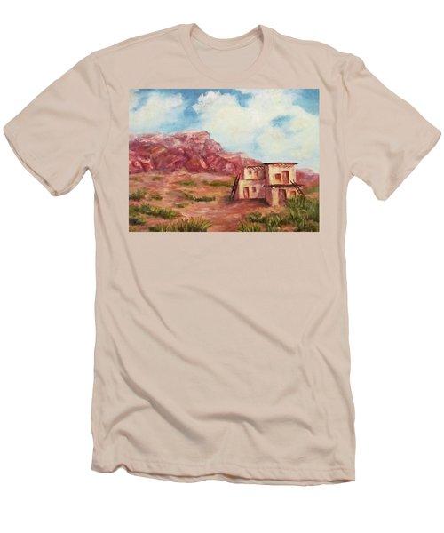 Men's T-Shirt (Slim Fit) featuring the painting Desert Pueblo by Roseann Gilmore