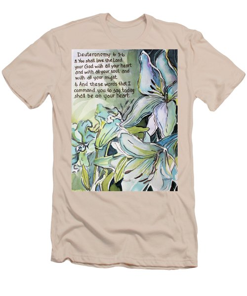 Men's T-Shirt (Slim Fit) featuring the painting Deuteronomy 6 5-6 by Mindy Newman