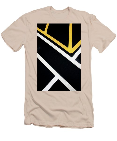 Men's T-Shirt (Athletic Fit) featuring the photograph Diagonal Path Traffic Lines by Gary Slawsky