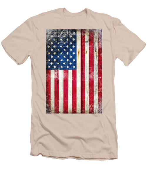 Distressed American Flag On Wood - Vertical Men's T-Shirt (Slim Fit) by M L C
