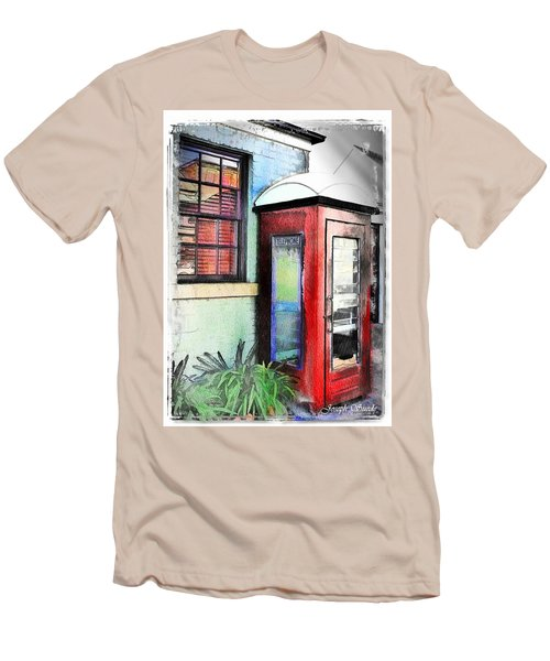 Men's T-Shirt (Slim Fit) featuring the photograph Do-00091 Telephone Booth In Morpeth by Digital Oil