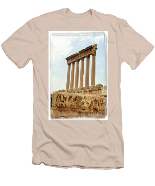 Men's T-Shirt (Slim Fit) featuring the photograph Do-00314 The 6 Corinthian Columns In Baalbeck by Digital Oil