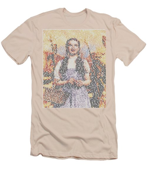 Men's T-Shirt (Slim Fit) featuring the mixed media Dorothy Made Of Wizard Of Oz Quotes by Paul Van Scott