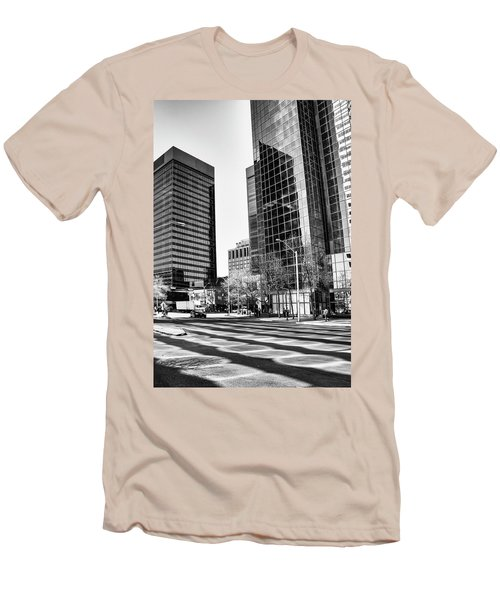 Men's T-Shirt (Slim Fit) featuring the photograph Downtown Bubble Reflections by Darcy Michaelchuk
