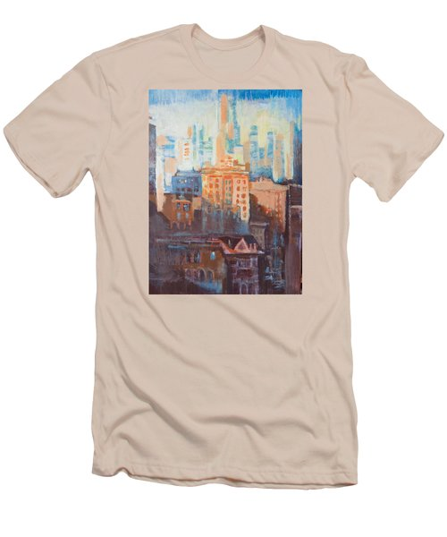 Men's T-Shirt (Slim Fit) featuring the painting Downtown Old And New by John Fish