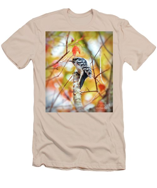 Downy Woodpecker In Autumn Forest Men's T-Shirt (Athletic Fit)