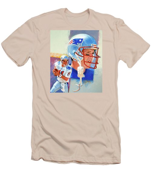 Men's T-Shirt (Slim Fit) featuring the painting Drew Bledsoe by Cliff Spohn