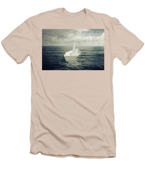 Men's T-Shirt (Slim Fit) featuring the photograph Drifting Paper Boat by Carlos Caetano