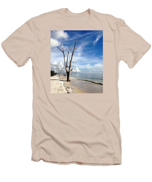 Men's T-Shirt (Slim Fit) featuring the photograph Driftwood At Lovers Key State Park by Janet King