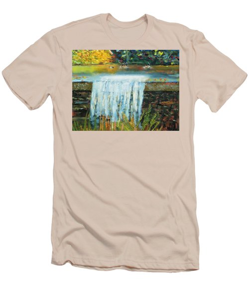 Men's T-Shirt (Slim Fit) featuring the painting Ducks And Waterfall by Michael Daniels