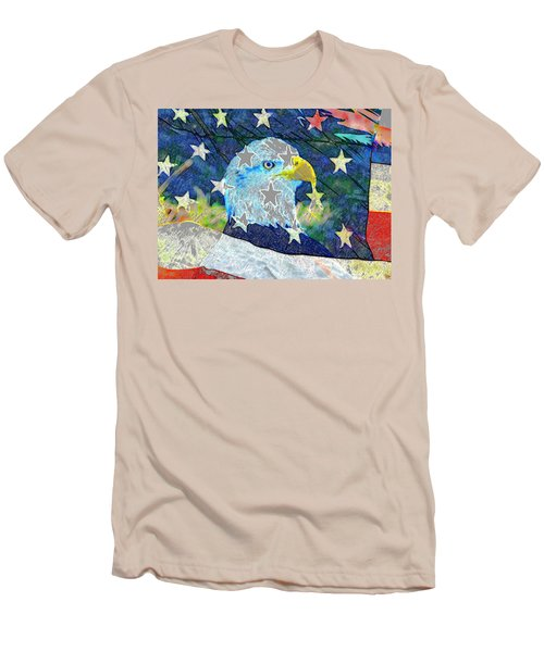 Men's T-Shirt (Slim Fit) featuring the digital art Eagle Americana by David Lee Thompson