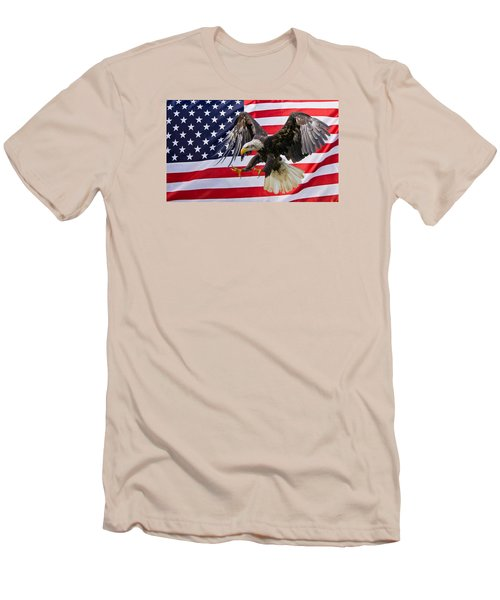 Eagle And Flag Men's T-Shirt (Slim Fit) by Scott Carruthers