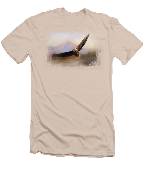 Eagle At The Mountain Men's T-Shirt (Slim Fit) by Jai Johnson