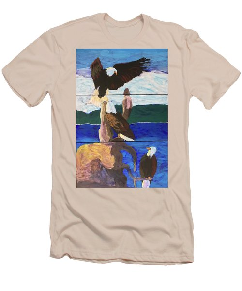 Men's T-Shirt (Athletic Fit) featuring the painting Eagles by Donald J Ryker III