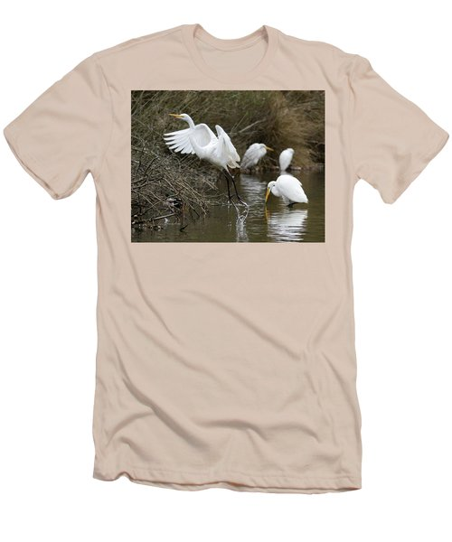 Men's T-Shirt (Slim Fit) featuring the photograph Egret Exit by George Randy Bass