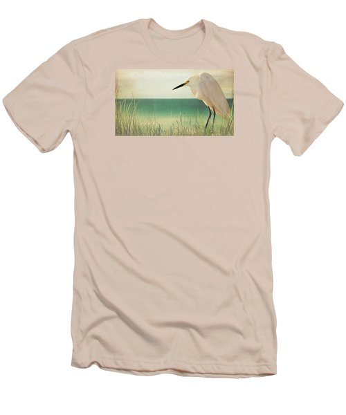 Egret In Morning Light Men's T-Shirt (Slim Fit) by Christina Lihani
