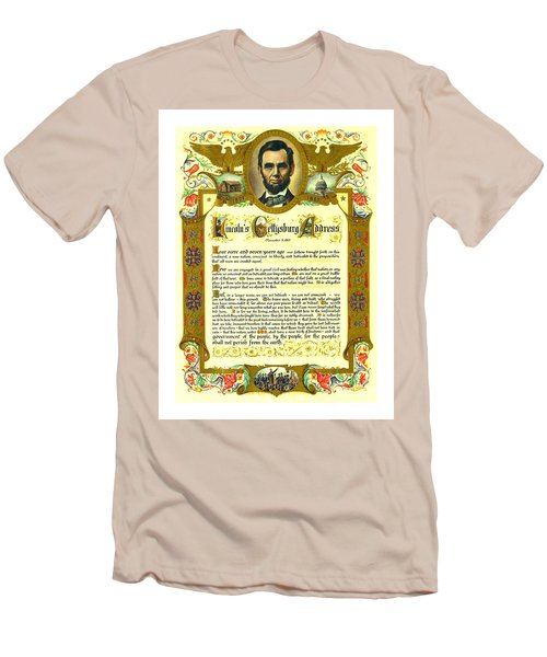 Men's T-Shirt (Athletic Fit) featuring the painting Elaborate Victorian Gettysburg Address Illuminated Manuscript With Lincoln Portrait by Peter Gumaer Ogden