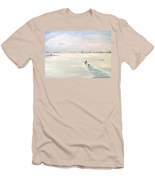 Men's T-Shirt (Slim Fit) featuring the painting Elf Stedentocht- Eleven Cities Tour by Annemeet Hasidi- van der Leij