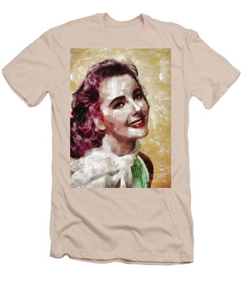 Elizabeth Taylor, Vintage Hollywood Legend By Mary Bassett Men's T-Shirt (Slim Fit) by Mary Bassett