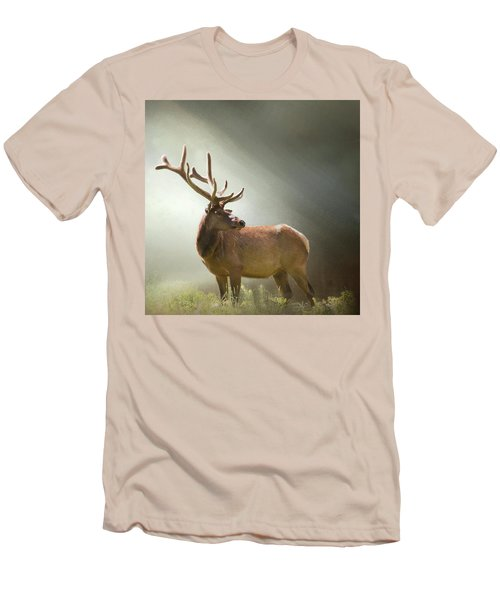 Men's T-Shirt (Slim Fit) featuring the photograph Elk In Suns Rays by David and Carol Kelly