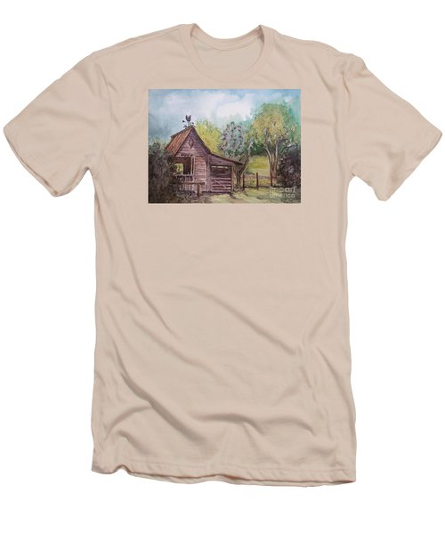 Men's T-Shirt (Slim Fit) featuring the painting Elma's Horse Barn by Gretchen Allen