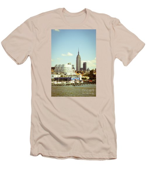 Empire State Building From Hudson Men's T-Shirt (Slim Fit) by Perry Van Munster