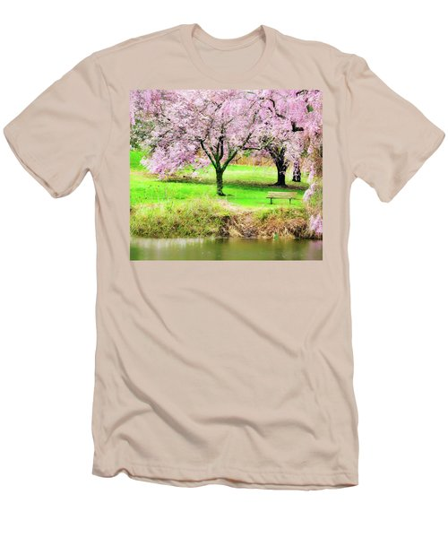 Men's T-Shirt (Athletic Fit) featuring the photograph Empty Bench Surrounded By Spring Colors by Gary Slawsky