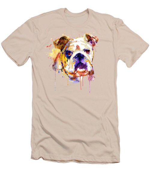 English Bulldog Head Men's T-Shirt (Slim Fit) by Marian Voicu
