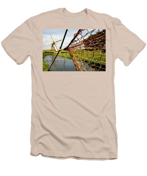 Men's T-Shirt (Slim Fit) featuring the photograph Enkhuizen Windmill And Nets by KG Thienemann