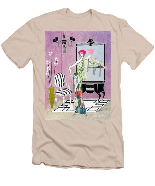 Erte'-esque -- Art Deco Interior W/ Fashion Figure Men's T-Shirt (Athletic Fit)