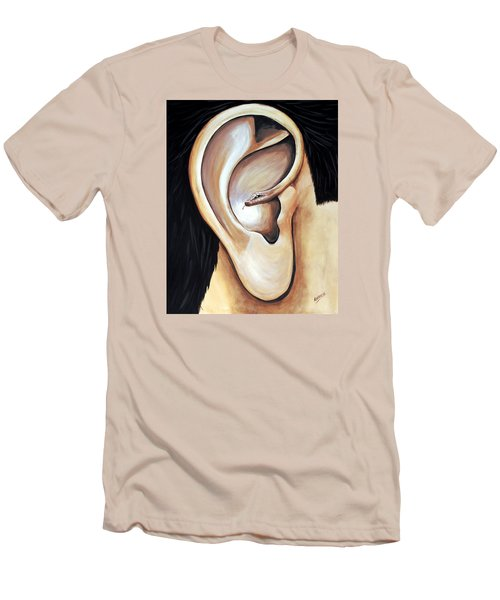 Men's T-Shirt (Slim Fit) featuring the painting Lengua Detractora by Edwin Alverio