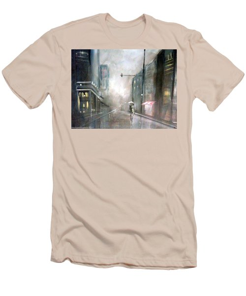Men's T-Shirt (Slim Fit) featuring the painting Evening Walk In The Rain by Raymond Doward