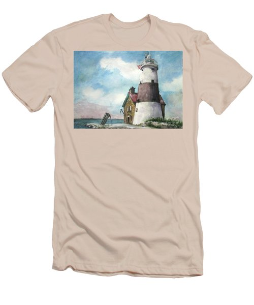 Men's T-Shirt (Slim Fit) featuring the painting Execution Rocks Lighthouse by Susan Herbst