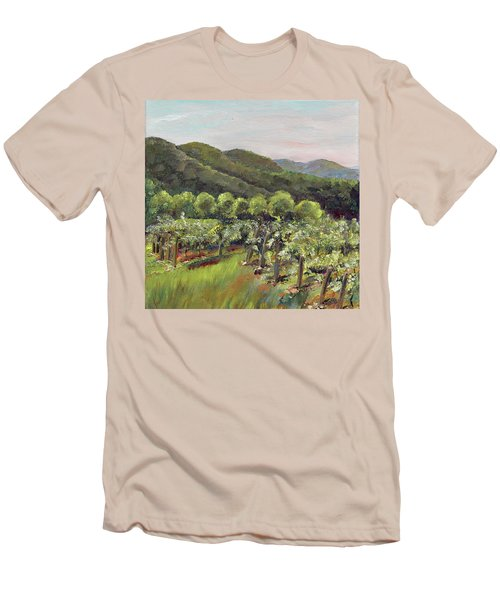 Men's T-Shirt (Athletic Fit) featuring the painting Fainting Goat Valley - Vineyards -  Jasper, Ga by Jan Dappen