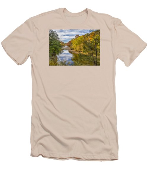 Fall At Turkey Run State Park Men's T-Shirt (Slim Fit) by Alan Toepfer