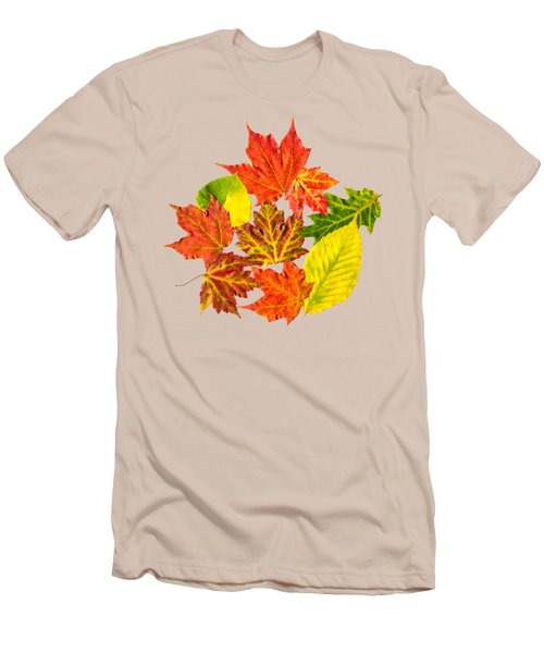 Men's T-Shirt (Slim Fit) featuring the mixed media Fall Leaves Pattern by Christina Rollo