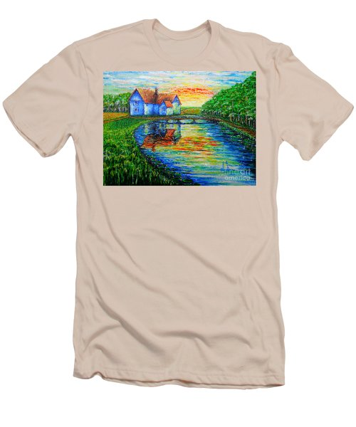 Men's T-Shirt (Slim Fit) featuring the painting Farm House by Viktor Lazarev