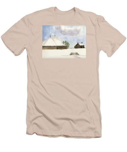 Men's T-Shirt (Slim Fit) featuring the painting Farmhouse In The Snow by Annemeet Hasidi- van der Leij
