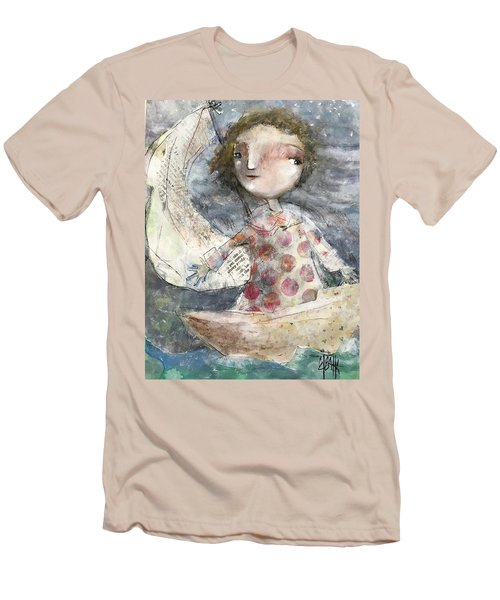 Men's T-Shirt (Slim Fit) featuring the mixed media Fearless by Eleatta Diver