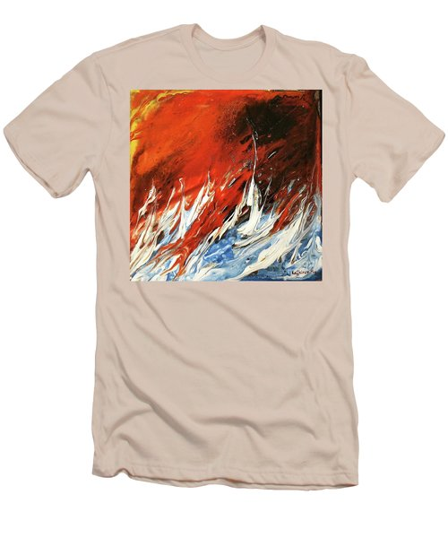 Men's T-Shirt (Slim Fit) featuring the mixed media Fire And Lava by Kathleen Pio