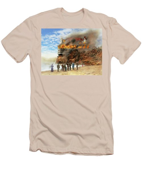 Men's T-Shirt (Slim Fit) featuring the photograph Fire - Cliffside Fire 1907 by Mike Savad
