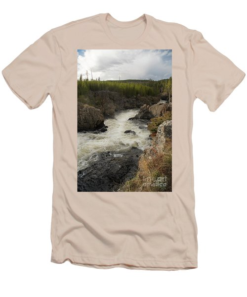 Firehole River Cascade Men's T-Shirt (Slim Fit) by Cindy Murphy - NightVisions
