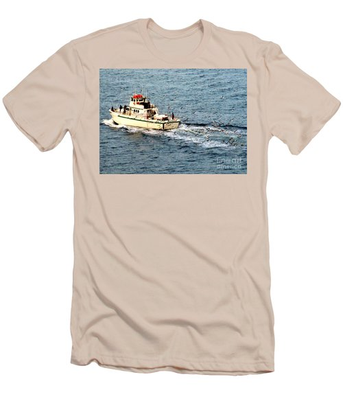Men's T-Shirt (Slim Fit) featuring the photograph Fishing And Seagulls by Randall Weidner