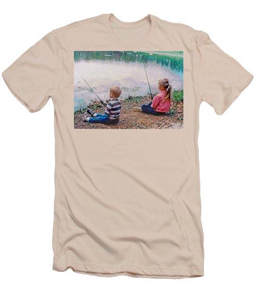 Fishing At Watkins Mill Men's T-Shirt (Slim Fit) by Steve Karol
