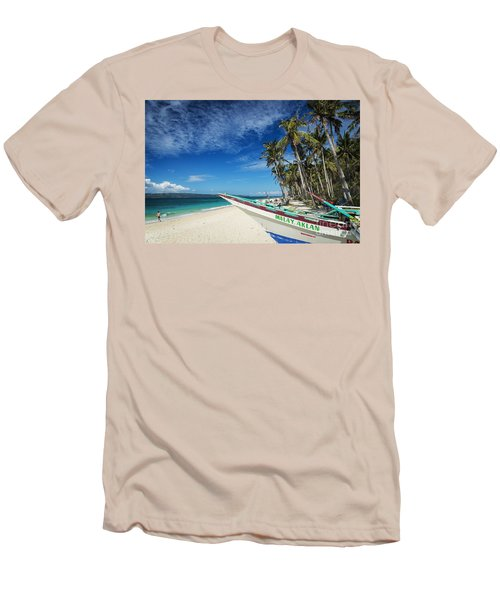 Fishing Boat On Puka Beach Tropical Paradise Boracay Philippines Men's T-Shirt (Athletic Fit)