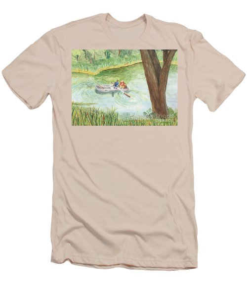 Men's T-Shirt (Slim Fit) featuring the painting Fishing Lake Tanko by Vicki  Housel